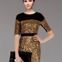 Bqueen Metallic Sequin Dress K493J