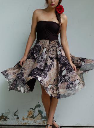 Flora Print  Strapless Dress