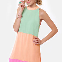 Sundaes Best Peach Color Block Dress