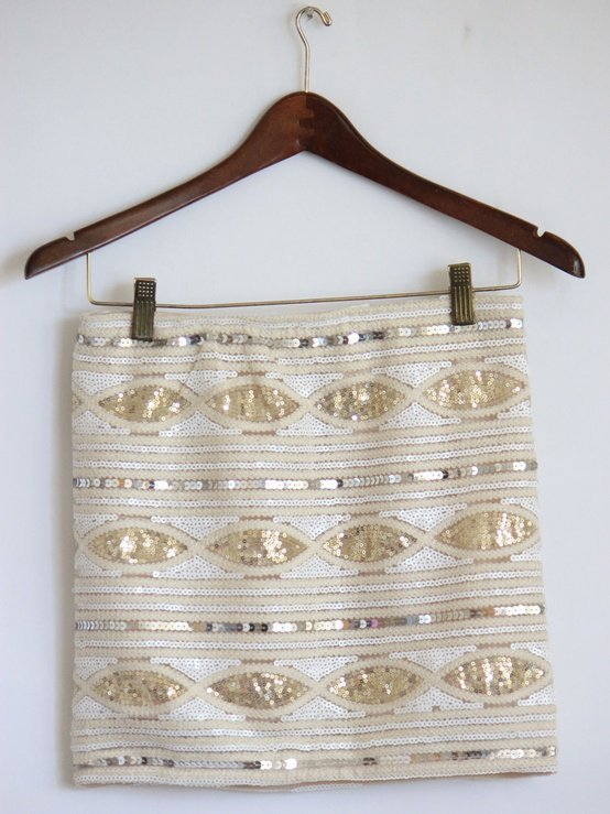 White and Gold Sequin Skirt - Mickey&#x27;s Girl