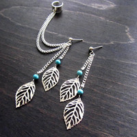 Leaf filigree double ear cuff earring, ear cuff set