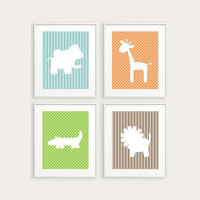 Modern Nursery Art, Jungle Safari With Polka Dots & Stripes - Four 8x10 Kid's Room Decor, Elephant, Giraffe and More - You Pick Colors