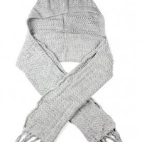 de*nada - hooded scarf with fringe (grey) - De*Nada | 80's Purple