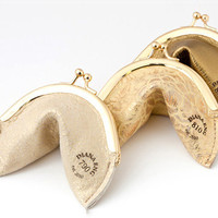 Holiday Gold Fortune Cookie Coin Purse