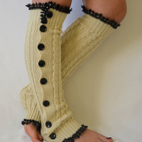 Leg warmers- beige slouchy open button down lace leg warmers knit lace leg warmers boot socks christmas gifts