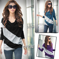 New Womens Batwing Long Sleeve Stripe Cotton Casual Loose Tops T-Shirt S M L XL