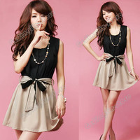 Women's Sleeveless Contrast Color Chiffon Casual Mini Dress With Belt Black #498
