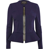 Navy structured peplum jacket