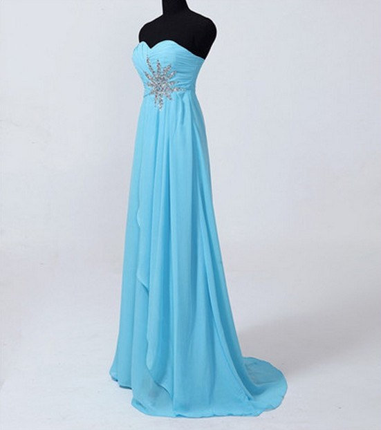 Custom Beach Sweetheart Sweep Train Chiffon Beading Long Bridesmaid/Evening/Party/Homecoming/Prom/Formal Dresses 2013 New Arrival