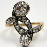 "1902 Art Nouveau 1.59ct Antique Old European cut Diamond Crossover ""Toi et Moi"" Engagement Ring 18K Gold"