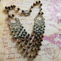 Bohemian Tiger Eye and Malachite Gemstone Bib Necklace