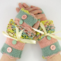 Knit fingerless gloves arm warmers fingerless mittens peach mint green striped pale yellow lace victorian curationnation