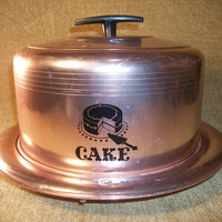 Covered Cake Server Latching Plate and Dome Copper and Black Vintage 1960's West Bend from TKSPRINGTHINGS Home Sweet Vintage Home Collection