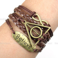 Bracelet-Believe bracelet / karma bracelet / infinity wish bracelet /The Deathly Hallows Bracelet / Harry Potter Jewelry