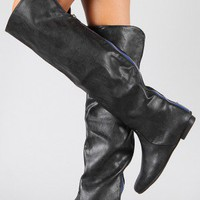 Bamboo Tiara-04 Cuff Round Toe Thigh High Boot