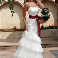 Elegant white Organza Strapless A line Layered Appliqued Stylish Wedding Dress :Buy at Sheinside