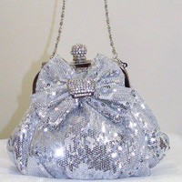 Silver Clutch Sequin Crystal Bow Evening Bag Clutch Prom Wedding Holiday Party