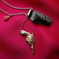 Kiss Kiss Bang Bang Necklace by BrooklynCharm on Etsy