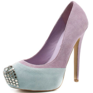 Delicate Girls Splicing Rivets Adorned Pumps Purple : Wholesaleclothing4u.com