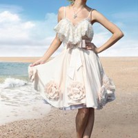 Big Flowers Lap Lace Trimming White Dresses : Wholesaleclothing4u.com
