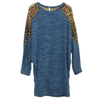 Leopard Montaged Long Blue Jumper [NCSWQ0284] - $36.99 :