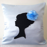 Elegant Cameo Light Blue And Black Pillow Cover. Powder Blue Decorative Cushion. Wedding Gift. Girls Room Decor