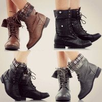 Plaid Sweater Combat Fold Over Snap Boots Mid Calf Military Fashion Shoes