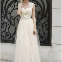 Wholesale Beaded Sweetheart Neckline Pleated Evening Dress Beige
