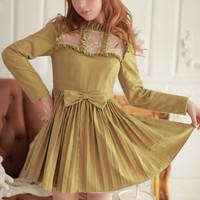 [Free Shipping] Long Sleeve Bow Accent Dress HS1221
