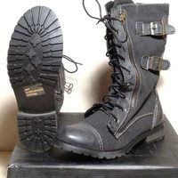 New Groove Force Canvas Lace Up Black Combat Boots Women's (6-10)