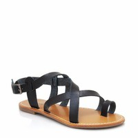 strappy-leather-sandals BLACK GREEN ORANGE WHITE - GoJane.com
