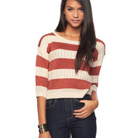 Metallic Striped Cable Knit Sweater