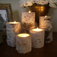 5 Birch bark log Candle holders tea lights set by miwoodcrafts