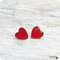 Post earrings - Red Hearts- made to order