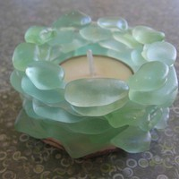 Stacked LAKE SUPERIOR AQUA Beach Glass tea light by beachglass46