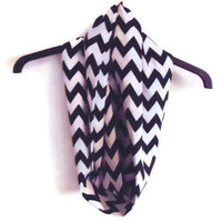 Infinity Scarf, black and white chevron, circle scarf, loop scarf
