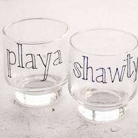 playa love shawty old fashioned glasses - set of two (2) cups - upcycled pair