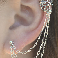 Ear Cuff with Chain - Butterfly Wing with Triple Chain to Post - Sterling Silver - SINGLE SIDE