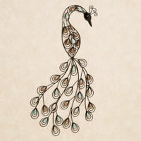 Resting Peacock Metal Wall Art