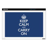 Keep Calm And Carry On - Cobalt Blue White Text Laptop Skins
