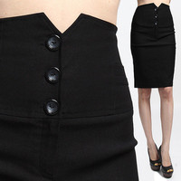 MOGAN S~3XL Buttoned Petal HIGH WAISTED H-line SKIRT Pencil Knee Office Evening