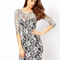 Lipsy Lace Overlay Midi Dress at asos.com
