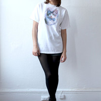 90s KITTY CAT with a Polka Dot Bow Tie Screenprint T-shirt xs s m l xl