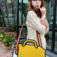 Jump style Funny Cartoon Bag 2D Looking Toufu Bag Look like Draw from Paper
