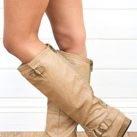 Wild Diva Tosca01a Camel Knee High Flat Riding Boots shop Boots at MakeMeChic.com