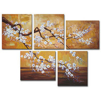 Plum Blossom Hand-painted Oil on Canvas Art Set | Overstock.com