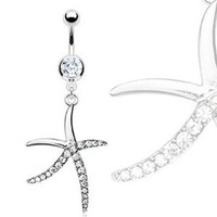 "316L Surgical Steel Pave Gemmed Starfish Navel Ring - 14 GA 3/8"" Long: Jewelry: Amazon.com"