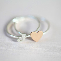personalized stack rings, initial ring and heart ring  (gold filled tiny heart ring with sterling silver initial ring)