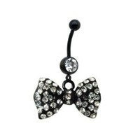 14G Black Bow Dangle Belly Ring With Stones Belly Button Navel Ring Piecing Jewelry + 1 Free Belly Retainer