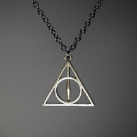 3/4 Inch Deathly Hallows Necklace  Stainless Steel by FanaticAlley